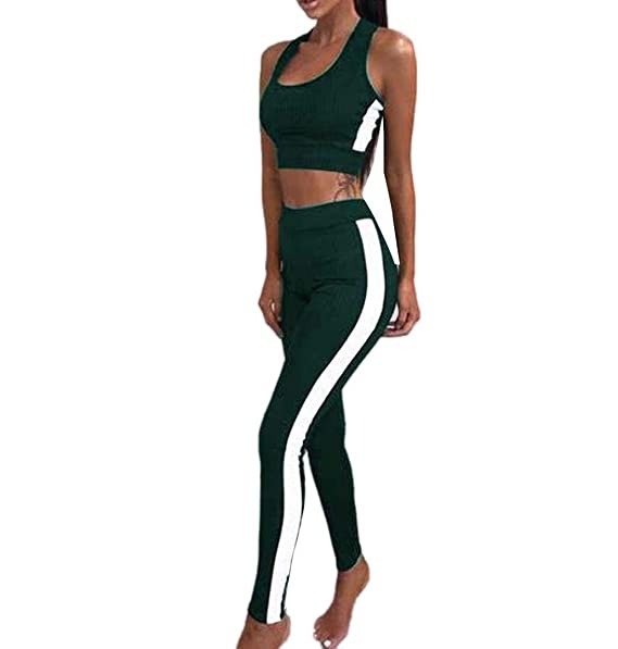 check out ade83 8b7b7 ZEZKT☀BH Top + Leggings Damen Sportbekleidung Set Trainingsanzug Stitching  Sport Wear Yoga Workout Pants Fitness Sporthose Jogginghose Skinny Hosen ...