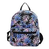 Urmiss Small Flowers Floral Leaf Graffiti Printed Canvas Casual Backpack Travel Shoulder Bag Students Schoolbag Rucksack for Kids Girls Boys and Women