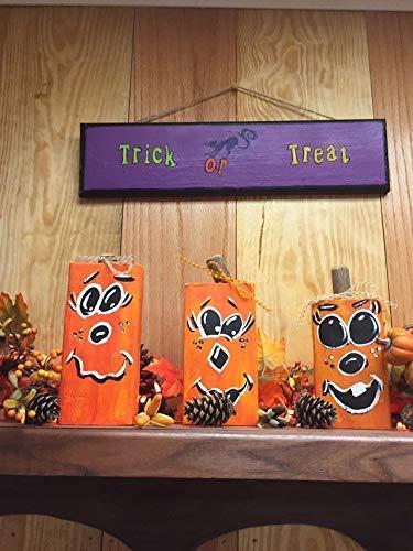 Iliogine Vintage Wood Sign Hallowen Pumpkin Wooden Blocks Halloween Centerpiece Gift Home Decor Wall Plaque Home Sign Gift]()