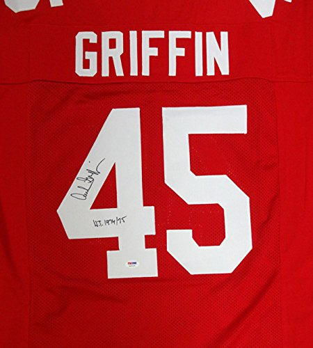 Archie Griffin Autographed Ohio State Buckeyes Red Jersey 'HT 1974 / 75' PSA/DNA
