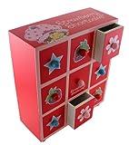 Mini Size Strawberry Shortcake Wooden Drawer Set - Strawberry Shortcake Mini Jewelry Box Set