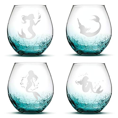 Set of 4, Mermaid Stemless Wine Glasses, Crackle Teal, Made in USA, Hand Etched Gifts, Sand Carved by Integrity Bottles
