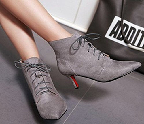 Up Gray Lace Elegant Ankle Party Toe Stiletto Pointed Heels Booties Dressy Bridal Kitten Aisun Women's Boots nqgIZZ