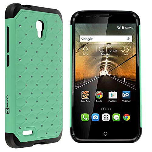 OneTouch Go Play Case, One touch Conquest Case, CoverON Aurora Diamond Bling Series Protective Dual Layer Hybrid Phone Cover for Alcatel One Touch Go Play / Conquest - Mint - Phones Tombile