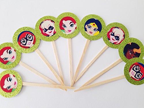 8 GREEN Glitter Girl Superhero Glitter Marvel DC Cupcake Toppers Picks Birthday Party Supergirl, Batgirl, Harley Quinn, Bumblebee, Poison Ivy