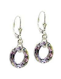 Queenberry Sterling Silver Donut Swarovski Elements Leverback Dangle Earrings