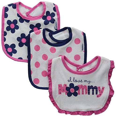 Gerber Baby-Girls Terry Dribbler Bib, Flowers, One Size (Pack of 3)