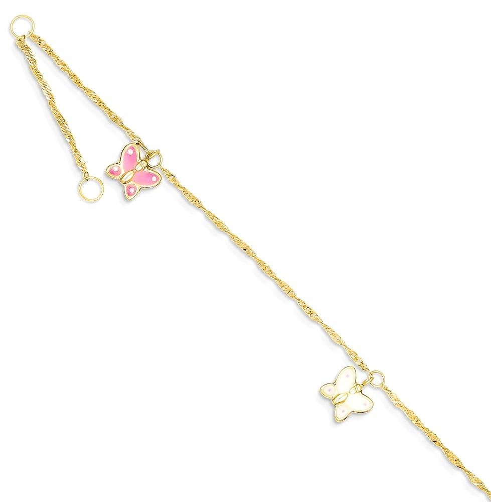 ICE CARATS 14k Yellow Gold Adjustable Chain Plus Size Extender Enameled Butterfly Anklet Ankle Beach Bracelet Fine Jewelry Gift Set For Women Heart