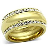 Stainless Steel Ion Gold Plating Clear Crystal Eternity Wedding Band Ring,, Size 5,6,7,8,9,10 (5)