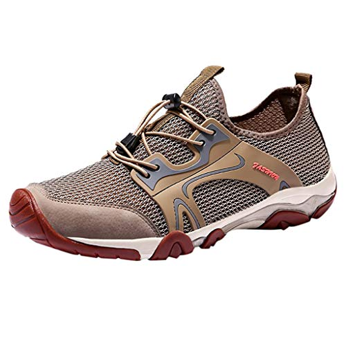 (iHPH7 Trail Running Hiking Shoes,Running Barefoot Shoes,Sports Running Shoes,Mid Mesh Running Shoe,Volleyball Shoes,Bowling Shoes,Platform Sneakers (45,Khaki))