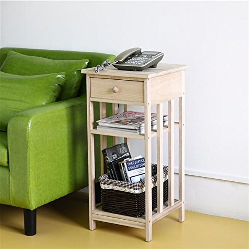 go2buy 3 Shelf Unfinished Tall End Table Drawer Telephone (Tall Skinny Shelves)