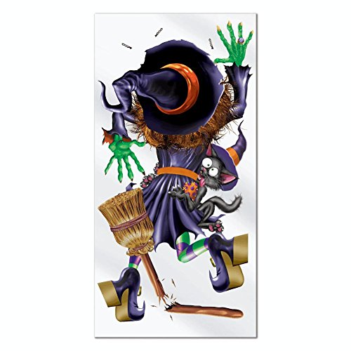 Witch Crashing Door Cover (Beistle Crashing Witch Door Cover, 30-Inch by 5-Feet)