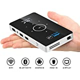 CANGSIKI Android 6.0 100 ANSI Lumens LED Pico Portable Smart Mini Projector,Home Theater DLP Pocket Video Projector Support 4K 1080P HDMI USB TF Card for Home Cinema/Laptop/iPhone Andriod Smartphone