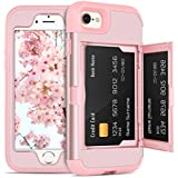 DOMAVER iPhone 8 Case,iPhone 7 Case with Wallet Card Holder and Mirror Hard Plastic Soft TPU Rubber Heavy Duty Shockproof Protective Phone Case Cover for Apple iPhone 7/iPhone 8,Rose Gold