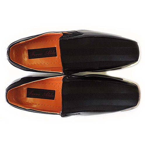 Newferro Aldo Fashion Mens A Righe Slip On Mocassini Scarpe Classiche M129206 / Nero
