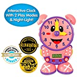 The Learning Journey Telly The Teaching Time Clock Pink - Electronic Analog & Digital Time Telling Aid with Two Quiz Modes & Night Light- Preschool Toys & Gifts for Boys & Girls Ages 3 & Up
