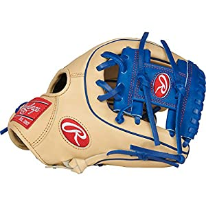 Rawlings PRO312-2CR Heart of The Hide Infield Baseball Gloves (Right Hand), Tan/Blue, Size 11.25