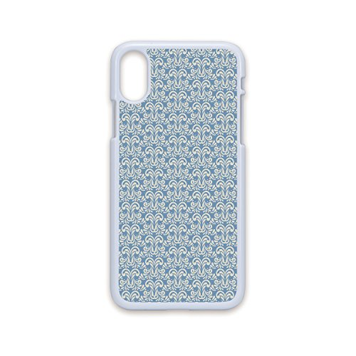 Phone Case Compatible with iPhone X White Edge 2D Print,Geometric,Abstract Modern Art Inspired Swirls Curves Floral Pattern Pale Toned Image Decorative,Slate Blue Tan,Hard Plastic Phone Case - Pans Slate