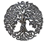 Small Tree of Life Metal Wall Art, Contemporary Steel Artwork Decor, Celtic Family Trees, 17.25'' Round Modern Plaque, Handmade in Haiti,Fair Trade Certified