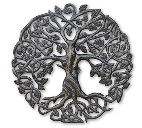 Small Tree of Life Wall Art, 17.25 Inches Round, Haitian Metal Artwork Decor, Celtic Family Trees, Modern Plaque…