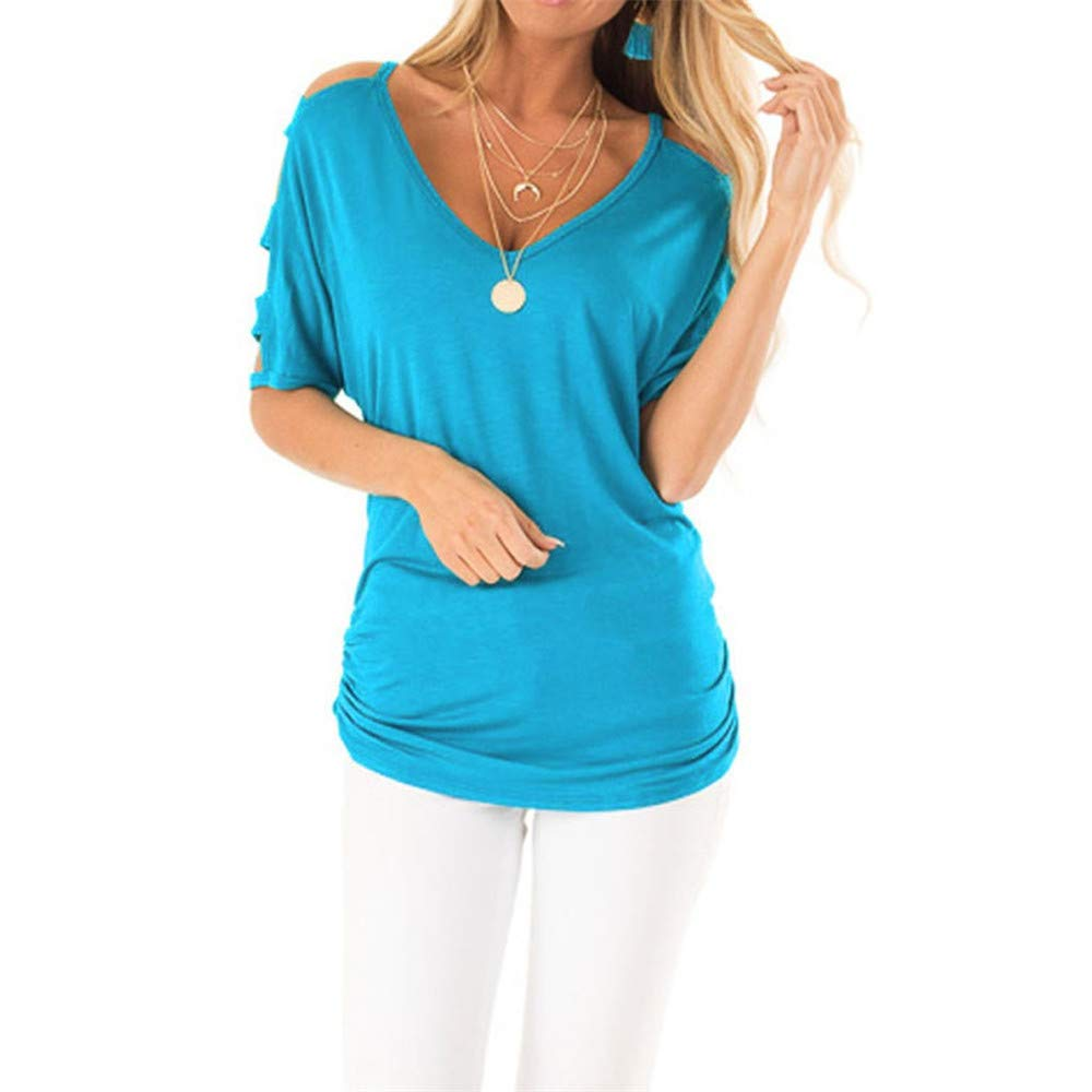 Vickyleb Women T-Shirt Summer Casual Solid Color Top Pullover V-Neck Shirts for Women Off Shoulder Blouse Tank Tops Blue