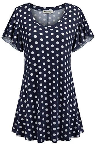 Ouncuty Women Tee Shirt, Big Girls Trendy Fashionable Loose Fitting Cowl Neck Short Sleeves Swing Comfy Floral Patterned Cool Thin T-Shirt for Outdoor Sports Workout Activewear Medium Dark Blue M ()