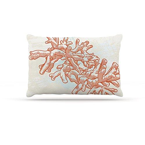 Kess InHouse Sam Posnick Finger Coral  Fleece Dog Bed, 50 by 60 , orange Tan