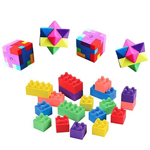 Cube Puzzle Eraser, 3 Styles Mini Colorful Geometric 3D Shape Cube Puzzle Pencil Rubbers Building Blocks Erasers