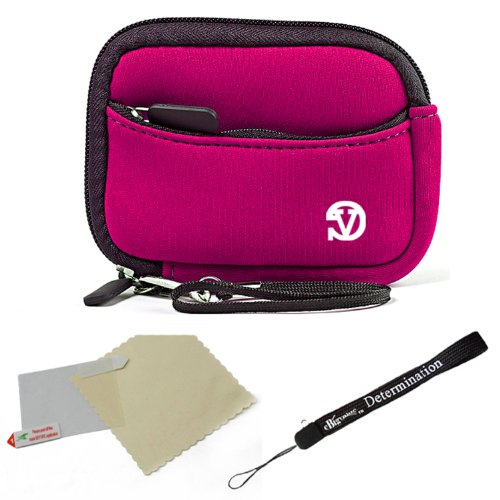 Shield Magenta Protector Case (Magenta - Black Trim Slim Protective Soft Neoprene Cover Carrying Case Sleeve with Extra Pocket for Samsung AQ100 CL80 DualView ST100 DualView ST600 DualView ST700 ES80 HZ10W HZ30W HZ35W MultiView MV800 PL20 PL90 PL200 SH100 SL50 Point and Shoot Digital Camera + Includes Grey 6 Inch Mini Tripod + Includes a anti glare screen protector, will protect from any small scratches and dirt)