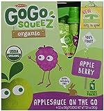 GoGo Squeez Organic Apple Applesauce On The Go, Berry, 4 ct