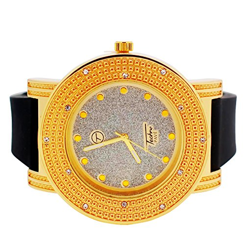 Techno Pave Mens Iced Out Diamond-Cut Gold Plated Bezel Watch WIth Silver Plated Dial and Black Designer Rubber Band