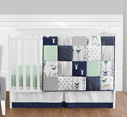 Navy Blue, Mint and Grey Woodsy Deer Boys Baby Bedding 4 Piece Crib Set Without Bumper