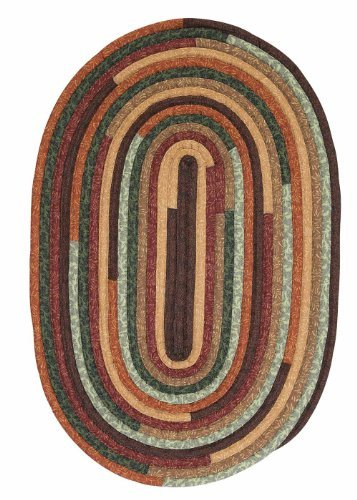 Cotton Fabric Colorful Braided Rug Runner 2ft. x 12ft. Oval Forest Green Cottage Carpet