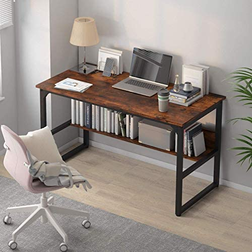"Home Office Computer Desk with Storage Space Study Writing Desk with Bookshelf Modern Style Table of Multi Utility (47"", RusticBrown)"