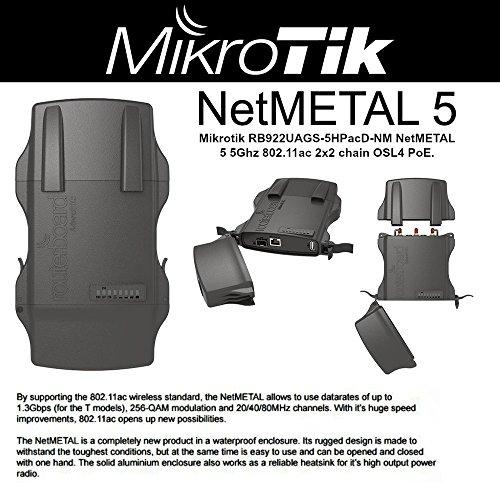 Mikrotik RB922UAGS-5HPacD-NM NetMETAL 5 5Ghz 802.11ac 2x2 chain OSL4 PoE by Mikrotik