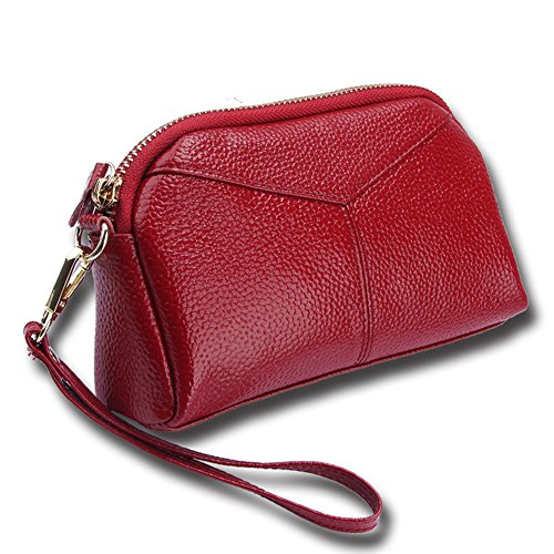 RFID Blocking Women Leather Wallet with Wrist Strap Large Capacity Wristlets Clutch Bag Cell Phone Card holder Organizer Pouch (Red) by Hilinker