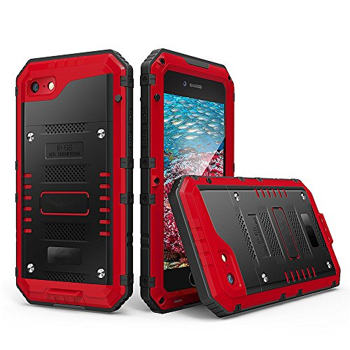 Guojia iPhone 6 / 6s Waterproof Case,Underwater Photography, Diving Phone Cover, Full Protection, Cool Three Proof Mobile Phone Shell, Suitable for Travel, Swimming and Diving (Red)