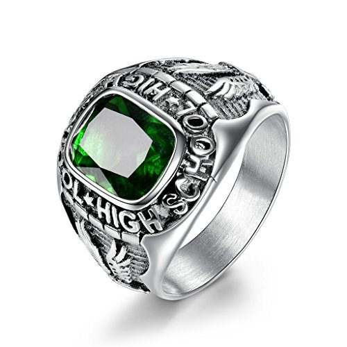 MASOP Mens Stainless Steel Rings with Green Cubic Zirconias High School Graduation Gifts Ring Size 8