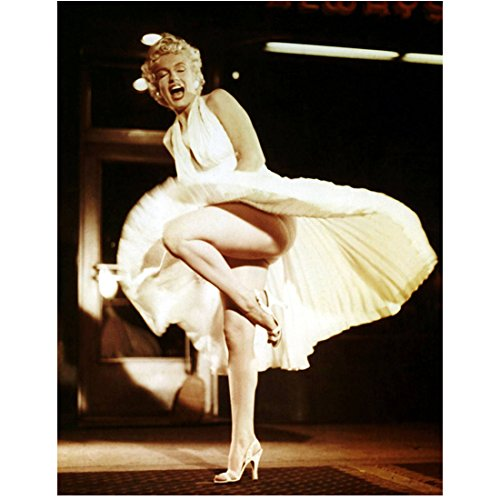 Marilyn Monroe 8 inch x 10 inch PHOTOGRAPH Some Like It Hot The Seven Year Itch Gentlemen Prefer Blondes Standing Over Grate in Sidewalk White Pleated Halter Dress Caught Up w/Gust of Air kn ()