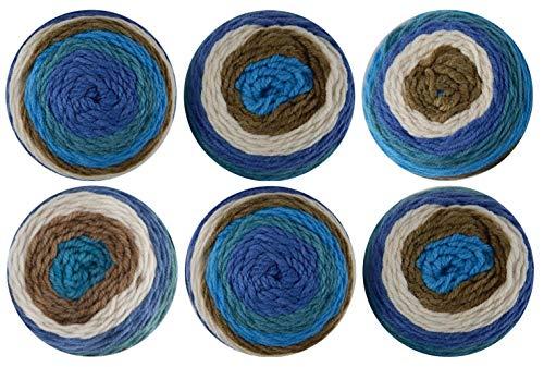Bernat Pop! Yarn 6-Pack Birch Bark & Blue
