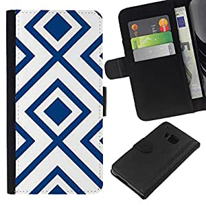 iBinBang / Flip Funda de Cuero Case Cover - Motif Blanc Vintage Wallpaper - HTC ONE M9