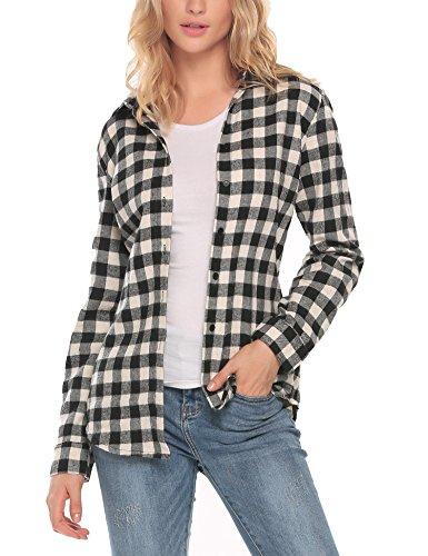 (Zeagoo Womens Casual Loose Tailored Long Sleeve Basic Simple Button-Down Plaid Shirt Black/L)