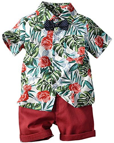 - Toddler Boy Clothes 2 Piece Set, Baby Boys Clothes Gentleman Bow Tie Suits, Little Boys Clothes Short Sleeve Button Down Hawaii Dress Shirt Shorts Outfit, Red, 2-3 Years=Tag 110