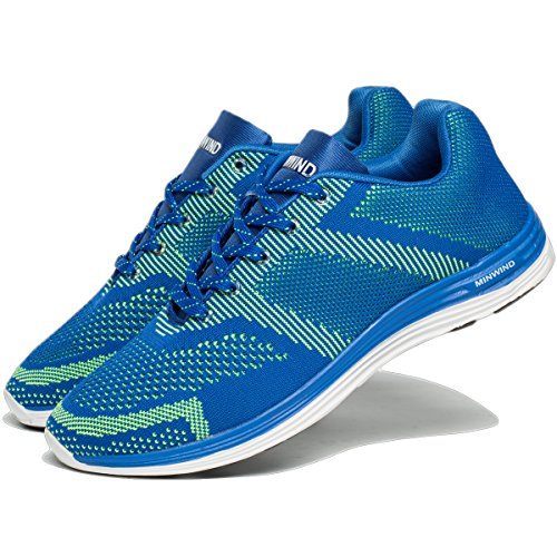 Leichte Laufschuhe Herren stricken atmungsaktive Sportschuhe Outdoor-Turnschuhe Blau Grün