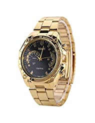 Watch W-life Fashion Men's Gold Stainless Steel Band Analog Quartz Sports Watch Black