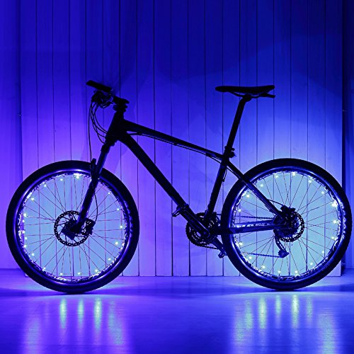 THlighting 2 Pack LED Bicycle Bike Cycling Wheel Light with USB Charging Battery Safety Light Spoke Light Lamp Lightweight Accessory (Blue) (Wheel Car White Led Lights)
