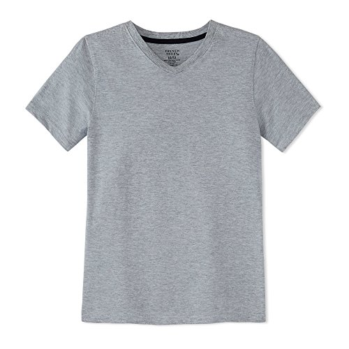 French Toast Big Boys' Short Sleeve V-Neck Tee, Heather Grey, 10/12 (Best School Clothes Sales)