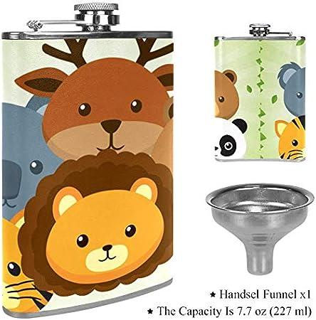 Petaca de licor a prueba de fugas, taza de cuero con diseño de caricaturas de animales de zoológico, contenedor de bolsillo para bebidas discretas de whisky y licor de alcohol Color1