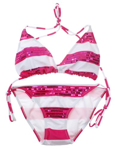 Yonghero Women's Sequins Bikini Set Cute Scrunch Butt Wireless Small Pink