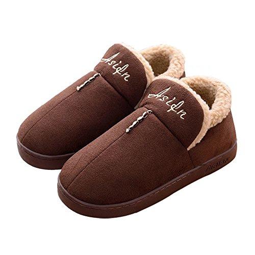 Outdoor Men for Slipper Indoor House Women Foam Sole Warm Winter Coffee CIOR Memory Cotton Shoes wRt7qBxxX